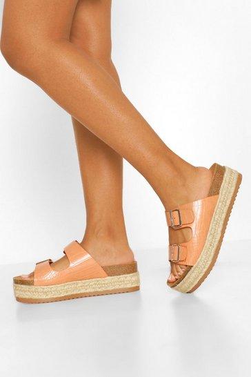 Tan brown Croc Espadrille Footbed Sliders