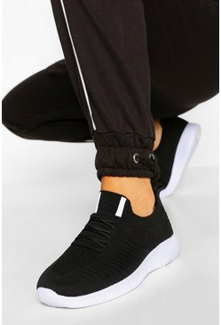Black Basic Knitted Sports Sneakers