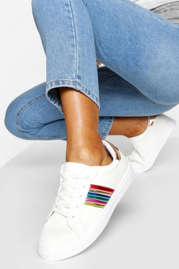 White Rainbow Stripe Lace Up Trainers