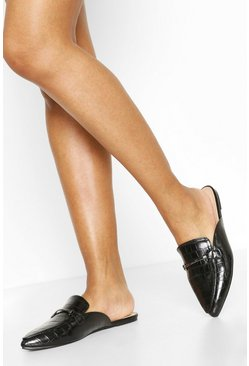 Black Croc Pointed Toe Mules