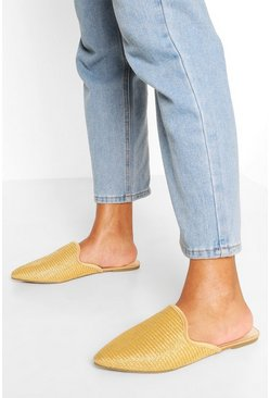 Natural beige Raffia Pointed Toe Mules