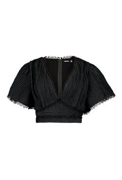Black Pleated Lace Trim Angel Sleeve Top
