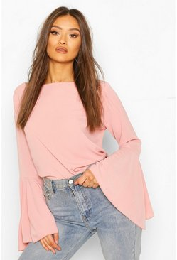 Rose pink Flute Sleeve Crepe Woven Blouse
