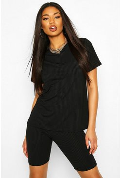 Black Jumbo Rib Oversized Rib T-Shirt