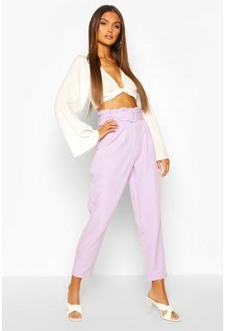 Lilac purple Paperbag Waist Belted Slim Leg Trouser