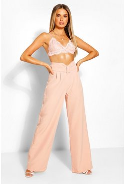 Belted V Front Wide Leg Trousers , Blush rosa