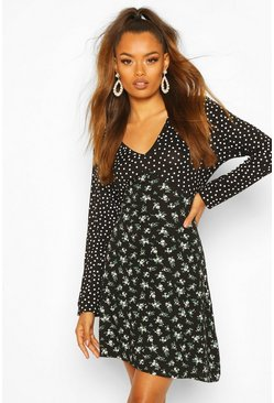 Black Mix Print Ditsy Spot Swing Dress