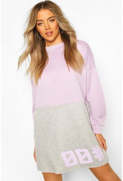 Lilac purple Colour Block Slogan Sweatshirt Dress