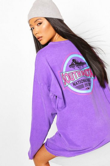Lilac purple Print Washed Long Sleeve T-shirt Dress
