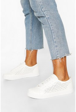 White Lazer Cut Lace Up Flat Trainers