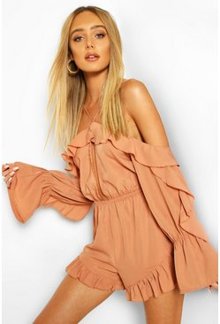 Mocha beige Off The Shoulder Ruffle Keyhole Playsuit