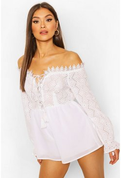 White Broderie Off Shoulder Lace Up Playsuit