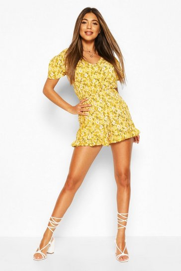 Yellow Floral Ruffle Hem Button Detail Playsuit