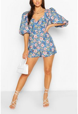 Blue Floral Puff Sleeve Button Detail Romper