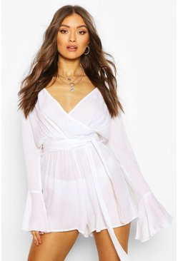 White Cheesecloth Flare Sleeve Romper