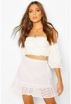 White Eyelet Frill Hem Mini Skirt