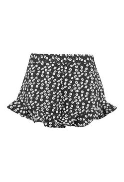 Black Monochrome Ditsy Flippy Short