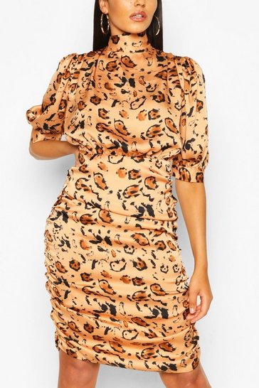 Apricot nude Animal Print Tie Neck Ruched Midi Dress