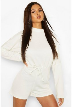 Lily white white High Neck Slouchy Loopback Playsuit