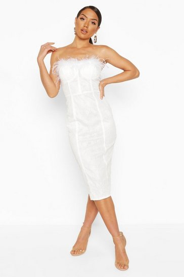 White Lace Bandeau Feather Trim Midi Dress