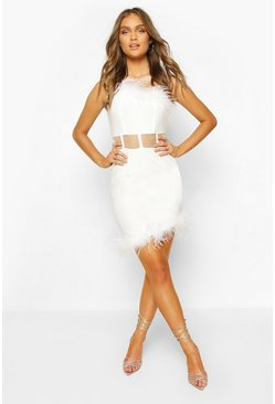 White One Shoulder Panelled Feather Trim Mini Dress