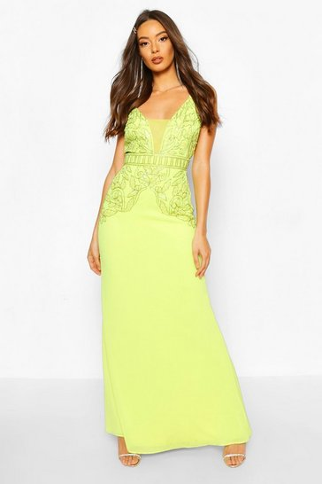 Lime green Occasion Hand Embellished Mesh Insert Maxi Dress