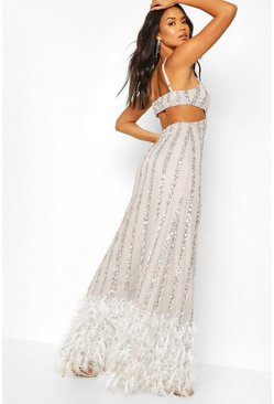 Grey Occasion Hand Embellished Tassle Hem Maxi Dress