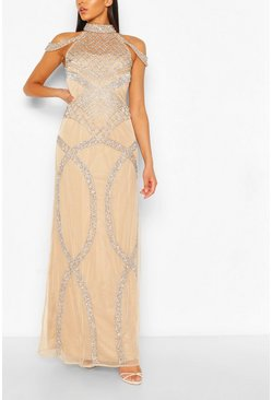 Nude Occasion Hand Embellished Cold Shoulder Maxi Dress