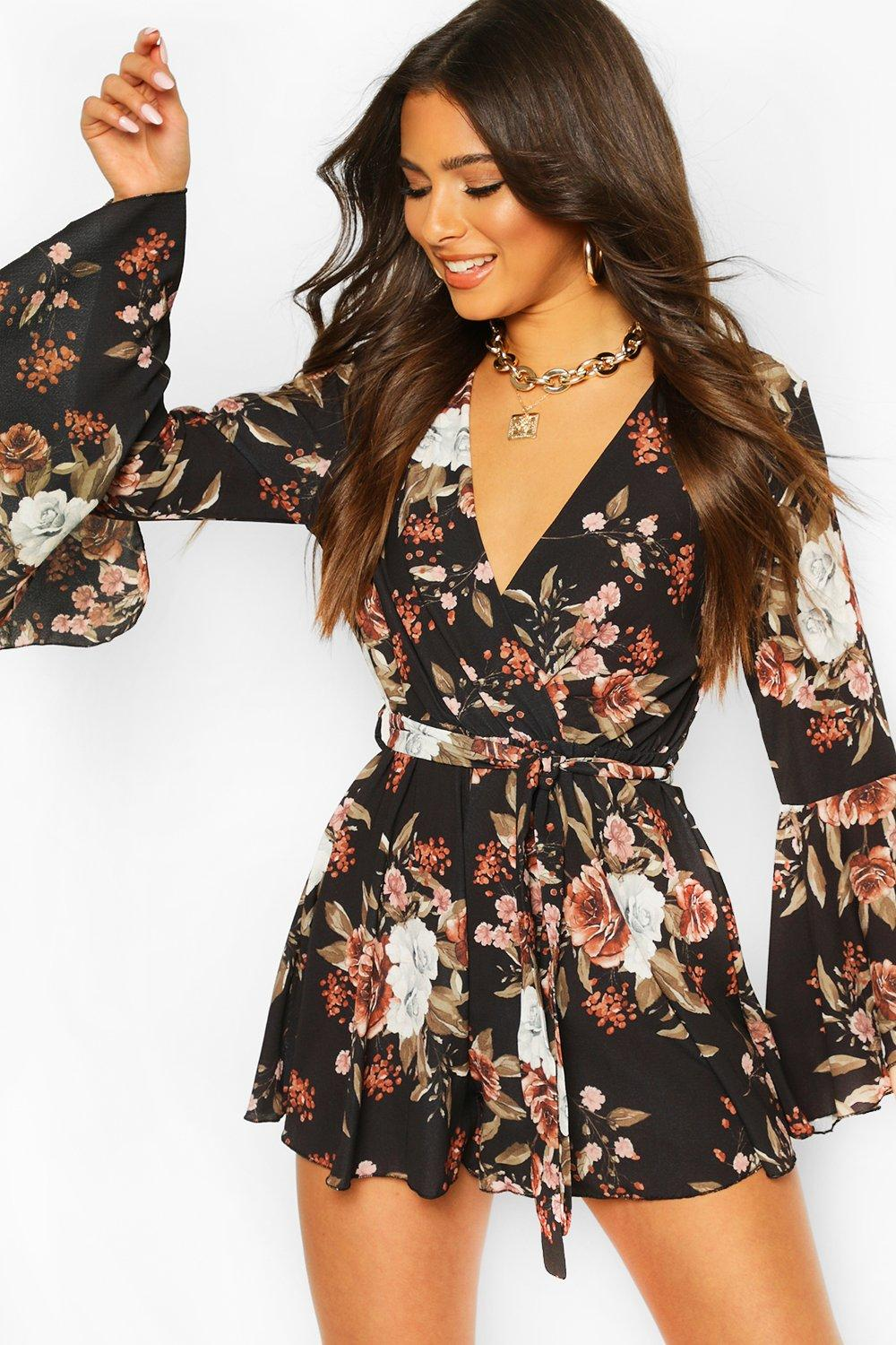 Jumpsuits & Playsuits Floral Flared Sleeve Tie Waist Playsuit