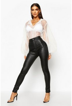 Black High Waist Matte Leather Look Skinny Trousers