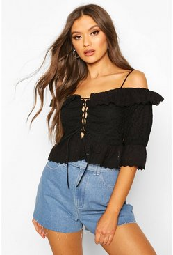 Black Broderie Anglais Cold Shoulder Ruffle Blouse