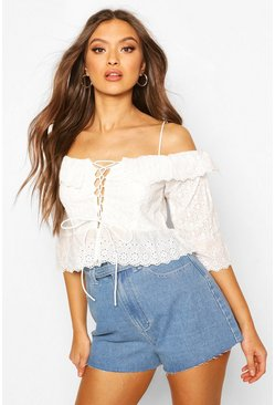 Ivory Broderie Anglais Cold Shoulder Ruffle Blouse