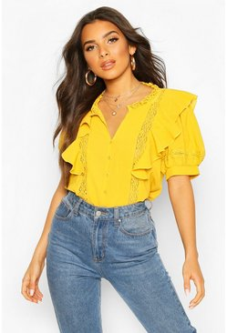 Mustard yellow Lace Insert Ruffle Blouse