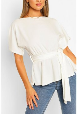 Ivory white Crepe Kimono Sleeve Belted Top