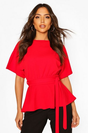 Red Crepe Kimono Sleeve Belted Top