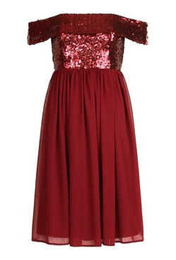 Berry Bridesmaid Occasion Sequin Bardot Midi Dress