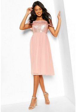 Blush pink Bridesmaid Occasion Sequin Bardot Midi Dress