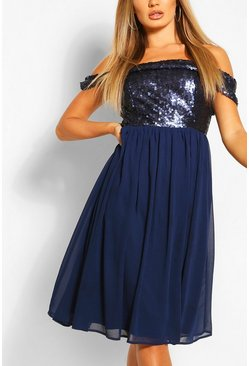 Navy Bridesmaid Occasion Sequin Bardot Midi Dress