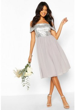 Silver Bridesmaid Occasion Sequin Off The Shoulder Midi Dress
