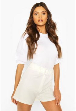White Big Sleeve Cotton Mix and Jersey Blouse