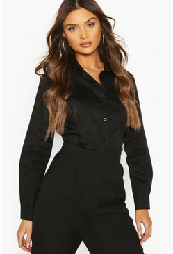 Black Cotton Mix Shirt