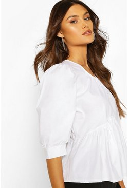 White Puff Sleeve Cotton Mix Blouse