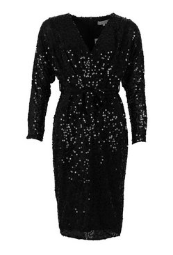 Black Bridesmaid Occasion Sequin Plunge Midi Dress