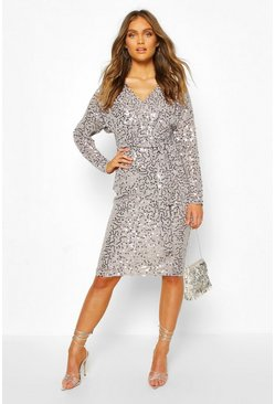 Grey Bridesmaid Occasion Sequin Plunge Midi Dress
