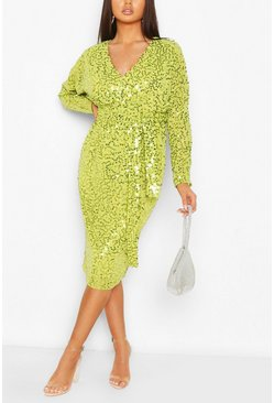 Lime green Bridesmaid Occasion Sequin Plunge Midi Dress