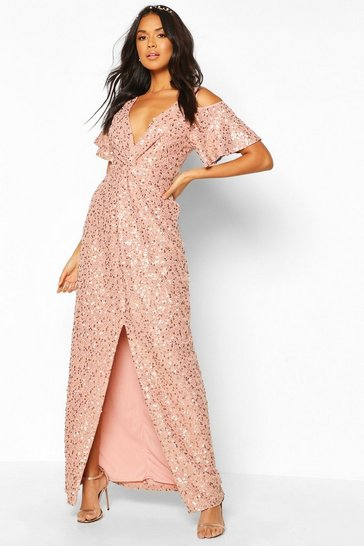 Blush pink Bridesmaid Occasion Sequin Knot Front Maxi Dress
