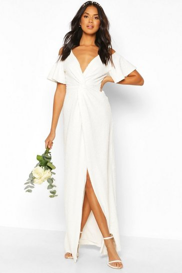 Ivory white Bridesmaid Occasion Sequin Knot Front Maxi Dress