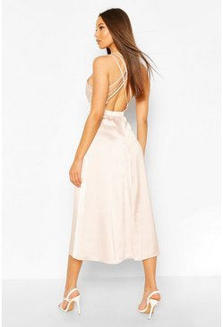 Occasion Satin Cross Back Midi Skater Dress, Soft pink rose