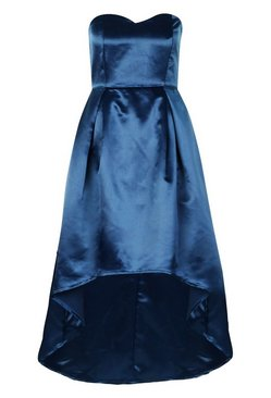 Navy Occasion Bandeau Satin Midi Skater Dress