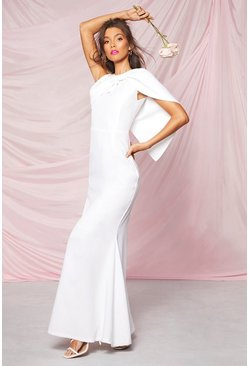 Ivory white Occasion Bow Cape Detail Maxi Dress